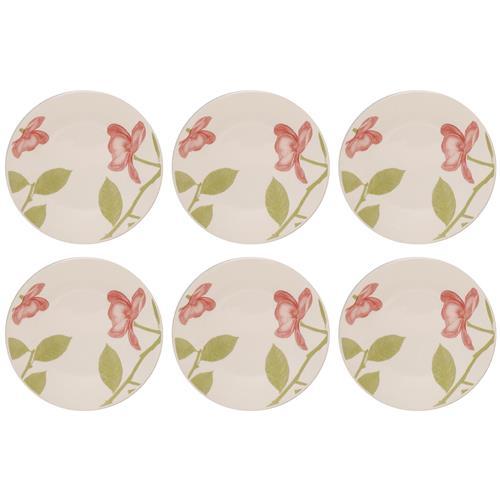 Jogo 6 Pratos Sobremesa Beauty 19Cm Em Cerâmica Mm18-1481 Biona