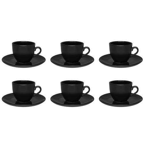 6 Xícaras De Chá Com Pires Preto Coup 200Ml 4924 Oxford