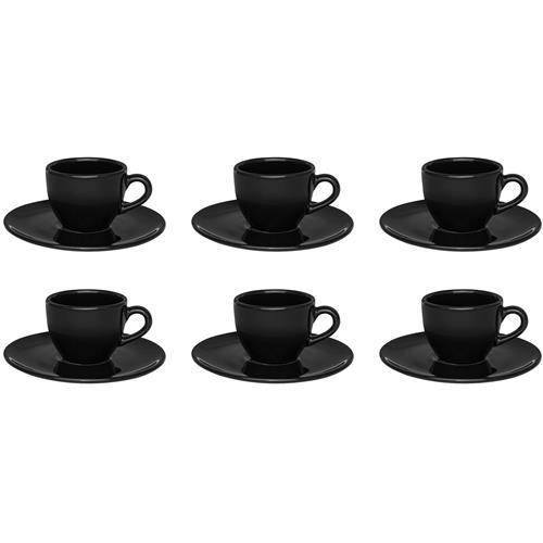 6 Xícaras De Café Com Pires Preto Coup 75Ml 4924 Oxford