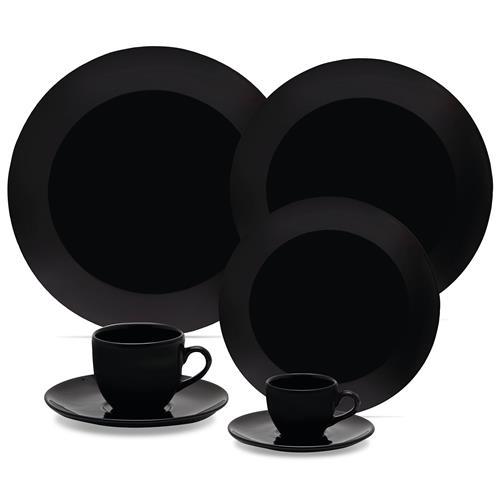 Aparelho De Jantar Chá E Café Coup 42 Peças Em Porcelana Preto Oxford