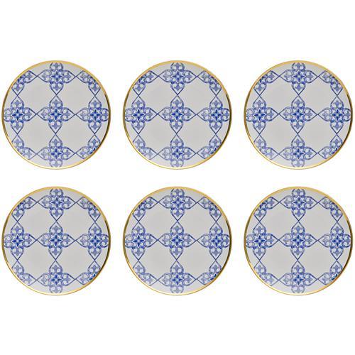 Jogo 6 Pratos Sobremesa Coup 21Cm Porcelana Lusinata Em18-4988 Oxford
