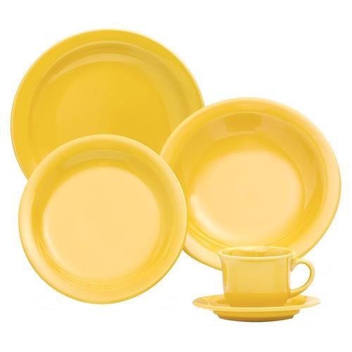Aparelho De Jantar E Chá Floreal 20 Peças Yellow Jm38-6025 Oxford