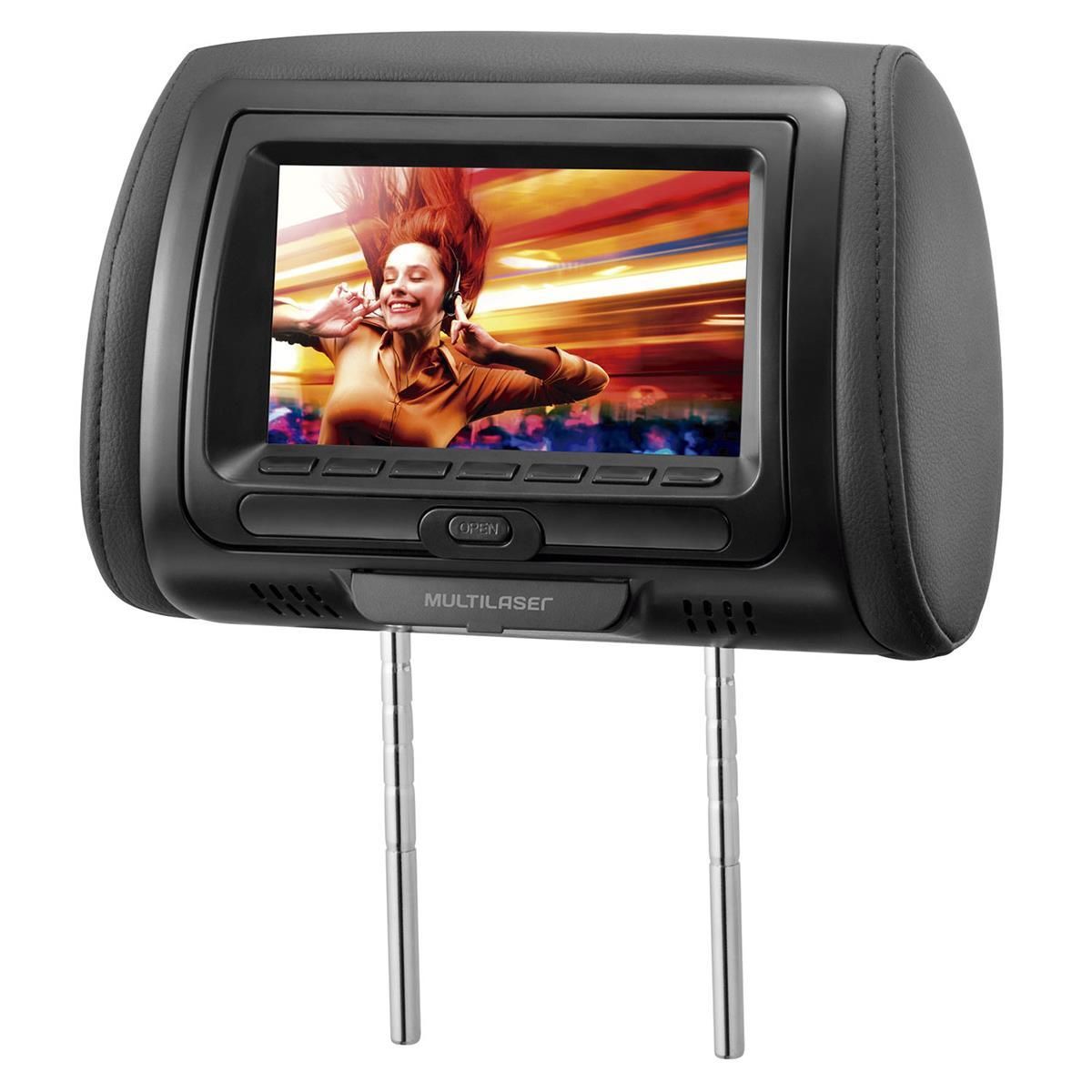 Encosto De Cabeça Com Dvd Player Tela 7 Pol Cinza Multilaser