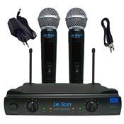 Microfone Sem Fio Duplo De Mão Uhf Ls 902 Ht/Ht Leson