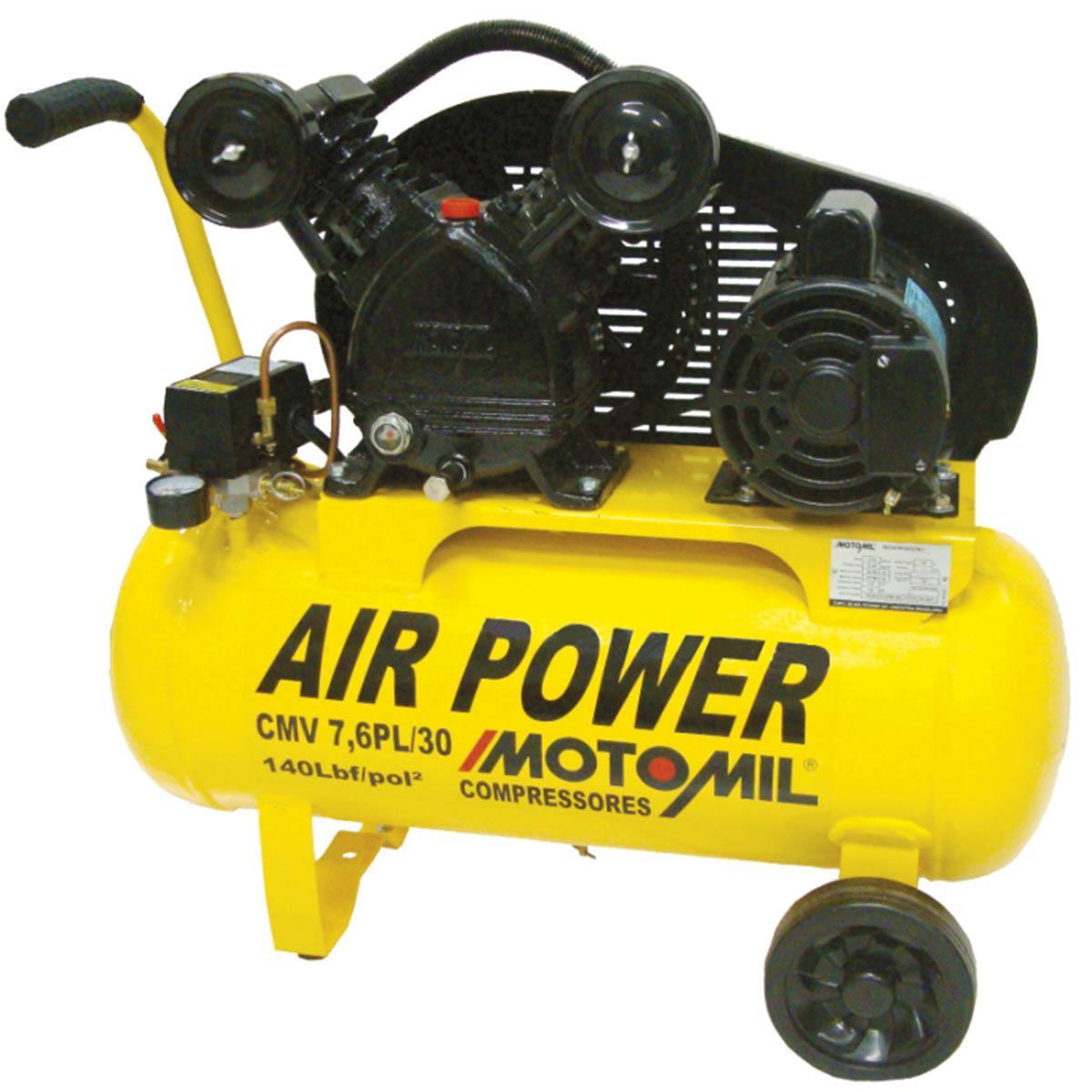 Compressor De Ar 1Hp Monofásico 110 / 220Volts Cmv - 7.6Pl / 30 Motomil