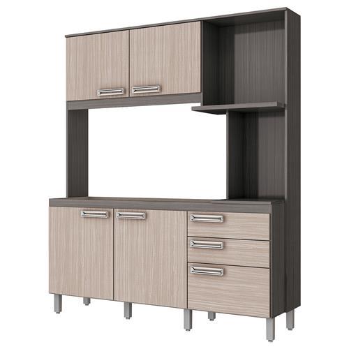 Cozinha Compacta 4 Portas 1600Mm Gris E Palha Briz