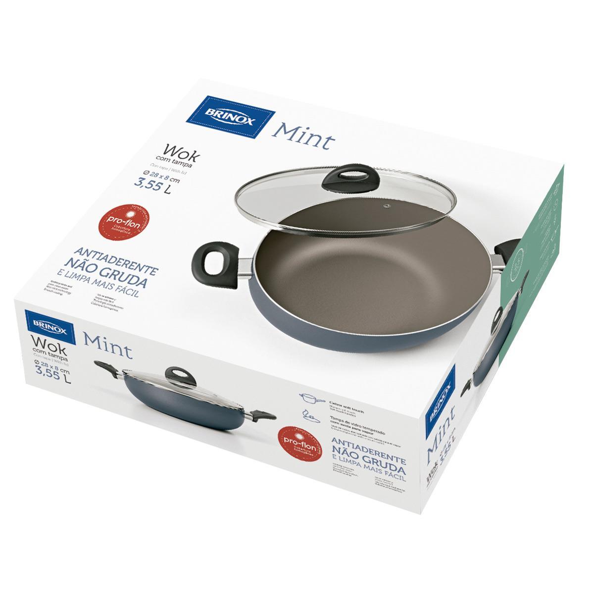 Panela wok com tampa 28cm antiaderente mint cobalto brinox na estrela10 fandeluxe Image collections