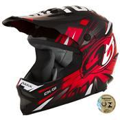 Capacete Motocross Infantil Preto E Vermelho Ck-01 Pro Tork