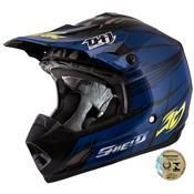 Capacete Motocross Th1 Shield Preto E Azul Pro Tork