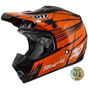 Capacete Fechado Motocross Th1 Shield Preto E Laranja Pro Tork