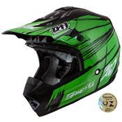 Capacete Fechado Motocross Th1 Shield Preto E Verde Pro Tork