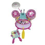 Bateria Infantil Barbie Fabulosa Com Banquinho 7293-1 Fun