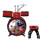 Bateria Infantil Miraculous Ladybug Com Banquinho 8107-8 Fun