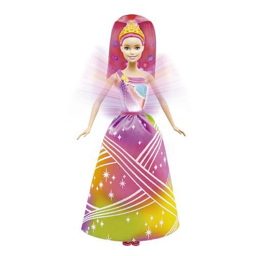 Boneca Articulada Princesas Barbie Com Luzes Arco Íris Dpp90