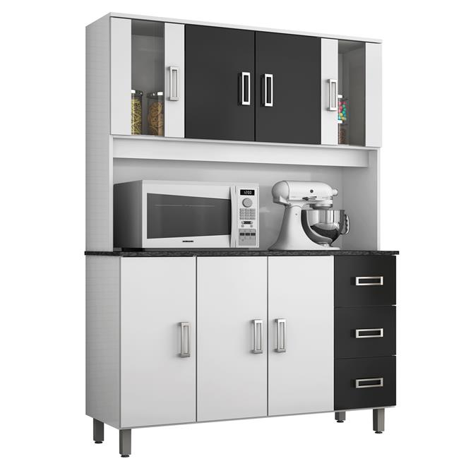 Cozinha Ravena 7 Portas 3 Gavetas Branco E Preto 378020 Poliman  Poliman # Cozinha Compacta Ravena