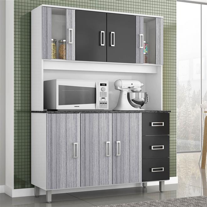 Cozinha Ravena 7 Portas Branco Cinza E Preto 378120 Poliman  Poliman # Cozinha Compacta Ravena