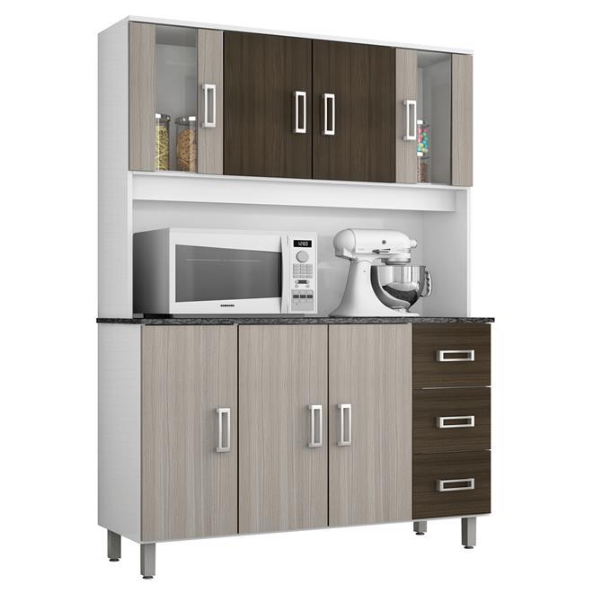 Cozinha Ravena 7 Portas Branco Rovere E Amêndoa 378320 Poliman  Poliman # Cozinha Compacta Ravena