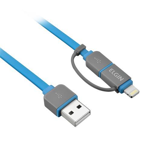 Cabo Micro Usb 2 Em 1 Apple Lightning 1 Metro Azul Elgin