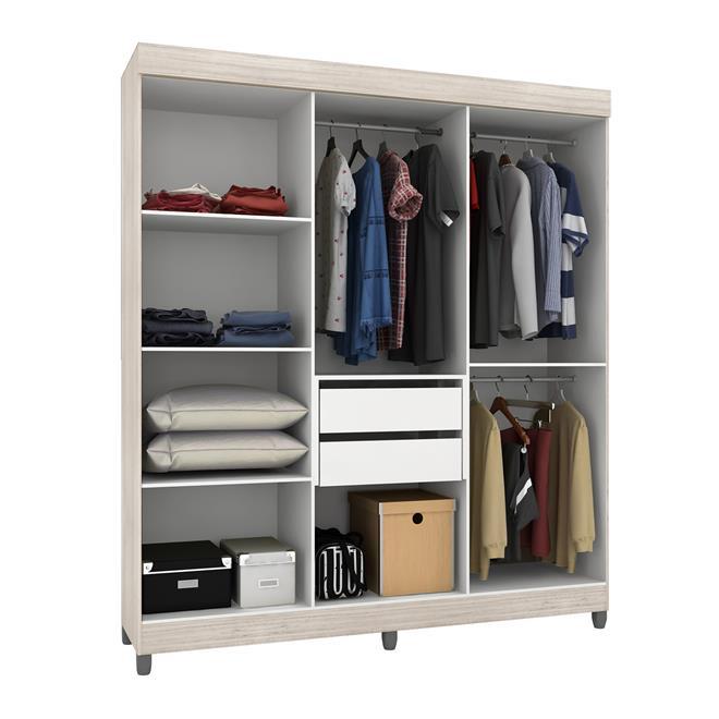 guarda roupa berlin 6 portas 2 gavetas grigio e preto. Black Bedroom Furniture Sets. Home Design Ideas