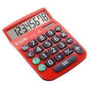 Calculadora De Mesa 8 Dígitos Vermelha Com Célula Solar Elgin