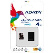 Cartão De Memória Micro Sdhc 4Gb Classe 4 Com Adaptador Preto Adata