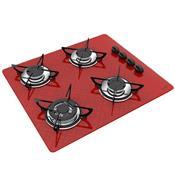 Cooktop Automático 4 Bocas Á Gás Tripla Chama Tetris Vermelho Casavitra