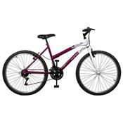Bicicleta Emotion 18 Marchas Aro 26 Violeta E Branca Master Bike