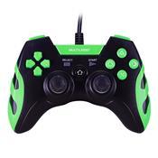 Controle Gamer Warrior Para Ps3 Ps2 Pc Preto E Verde Js081 Multilaser