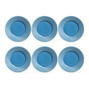 Jogo 6 Pratos De Sobremesa Plissé Azul 414284 Porto Brasil