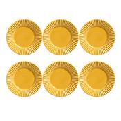 Conjunto 6 Pratos De Sobremesa Plissé Mostarda 410284 Porto Brasil