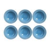 Conjunto 6 Pratos Fundo Plissé Em Cerâmica Azul 414283 Porto Brasil