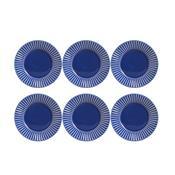 Conjunto 6 Pratos De Sobremesa Plissé Azul Navy 323284 Porto Brasil