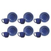 Jogo 6 Xícaras De Café Com Pires Plissé Azul Navy 323285 Porto Brasil