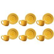 Jogo 6 Xícaras Para Café Com Pires Plissé Mostarda 410285 Porto Brasil