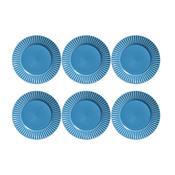 Conjunto 6 Pratos Rasos Plissé Azul 414282 Porto Brasil