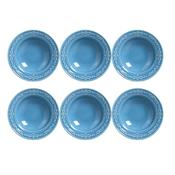 Jogo 6 Pratos Fundos Acanthus Azul 414483 Porto Brasil