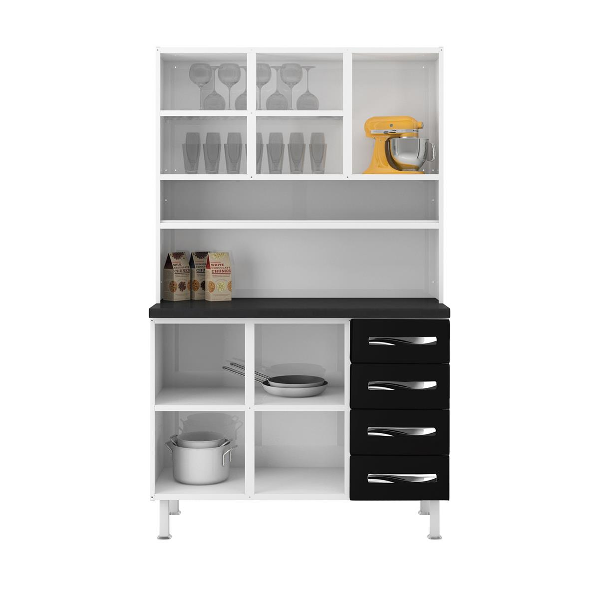 Cozinha Compacta 5 Portas 4 Gavetas Ipanema Master Branco E Preto