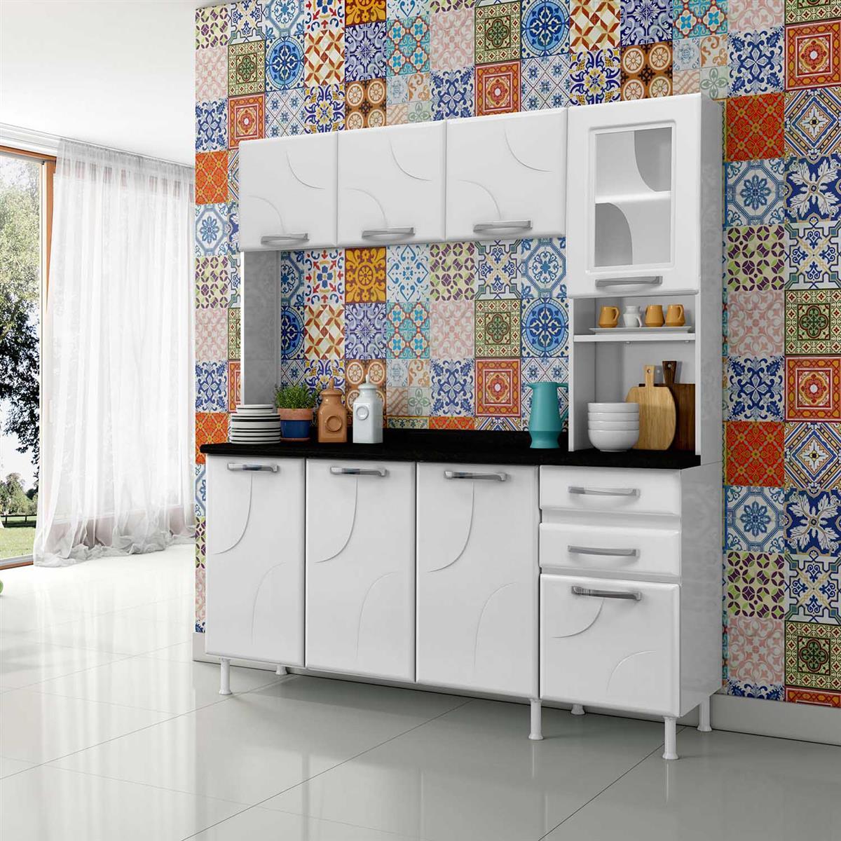 Cozinha Compacta Com Tampo 3 Gavetas E 7 Portas Safira Branca