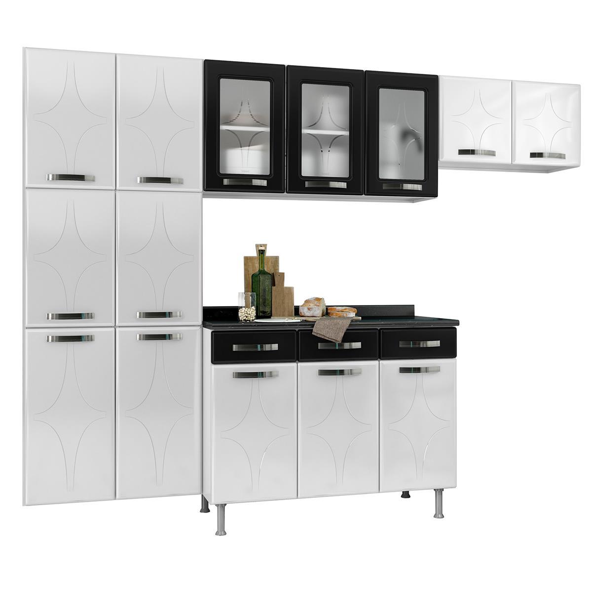 Cozinha Compacta 14 Portas 3 Gavetas Rubi Branca E Preto Telasul Na