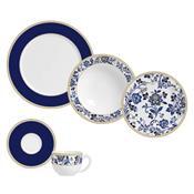 Conjunto De Jantar 30 Peças Classic Blue Branco E Azul 426009 Porto Brasil
