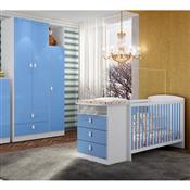 Jogo De Quarto Infantil Encanto Azul Com Berço Art In Móveis