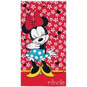 Toalha De Banho Infantil Minnie 75 X 140Cm Vermelha Lepper