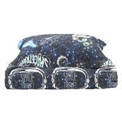 Cobre Leito Solteiro Space 180 Fios Com Porta Travesseiro Azul Karsten