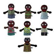 Conjunto De Fantoches 7 Peças Família Negra Papo De Pano