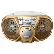 Rádio Portátil Boombox Cd Usb Branco E Dourado Px3125gx/78 Philips