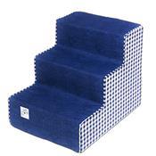 Escada Para Pet Com 3 Degraus Azul E Xadrez Fábrica Pet