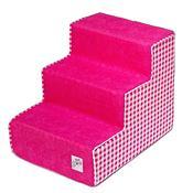 Escada Para Pet Com 3 Degraus Pink E Xadrez Fábrica Pet