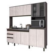 Cozinha Compacta 10 Portas 2 Gavetas Be113 Gris E Palha Henn
