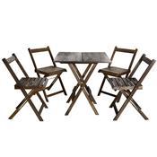 Conjunto Pub Dobrável  70X70 Cm 4 Cadeiras Tabaco Entalharte