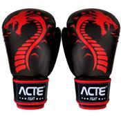Luvas De Boxe E Muay Thai Dragon Couro Flex Vermelha Acte